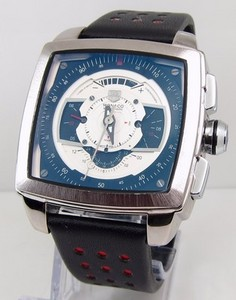 Copy Watches TAG Heuer Monaco Mens CAW2100 Blue and White Watch [b8a3]