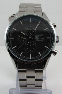 Copy Watches Tag Heuer Carrera AUTOMATIC CHRONOGRAPH Black Steel bracelet [d87b]