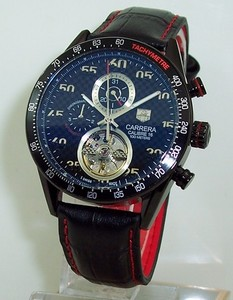 Copy Watches Tag Heuer Carrera CALIBRE 16 Tourbillon AUTOMATIC CHRONOGRAPH Blue Watch [f9ee]
