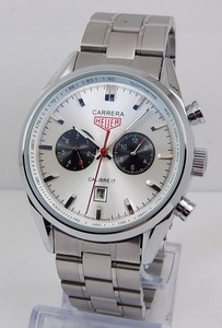 Copy Watches Tag Heuer Carrera Calibre 17 Automatic Chronograph Jack Heuer Edition White Steel bracelet [3ccd]
