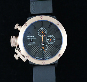 Copy Watches U-Boat U 1001 All Black II Chronograph Rose gold [2b20]