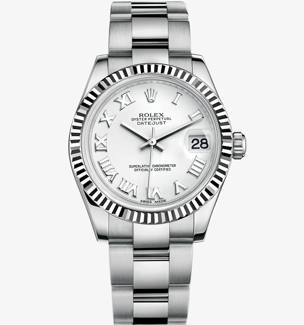 Replica Rolex Datejust Lady 31 Watch: White Rolesor - combination of 904L steel and 18 ct white gold – M178274-0082 [f29d]
