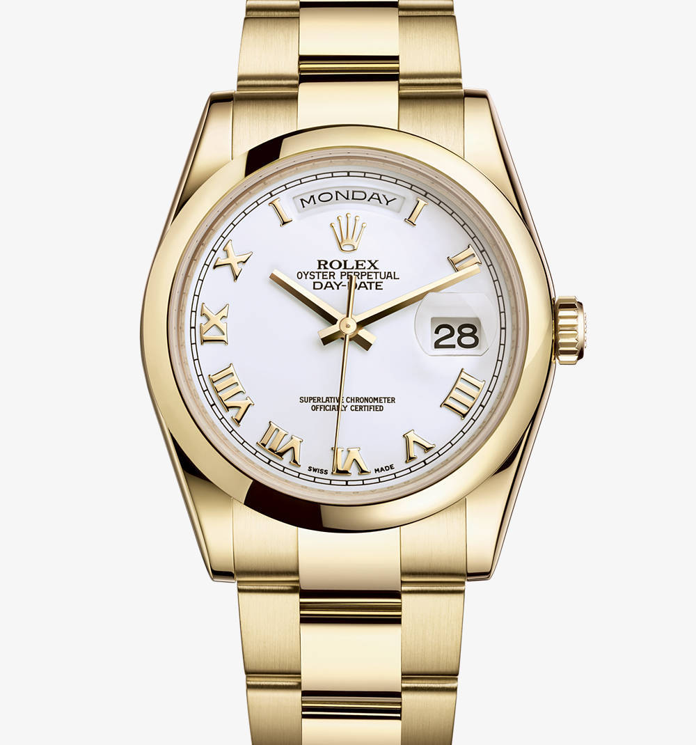Replica Rolex Day-Date Watch: 18 ct yellow gold – M118208-0087 [30fe]