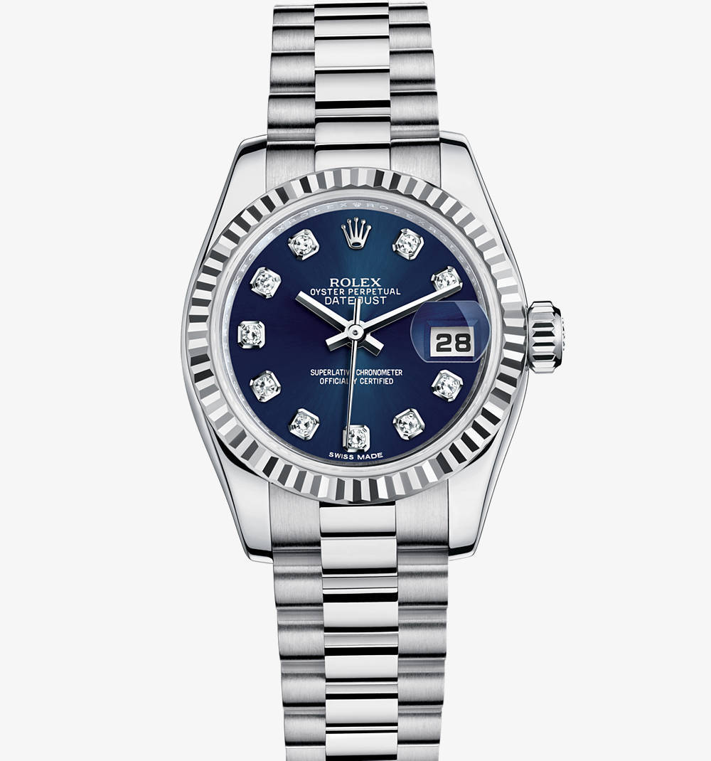 Rolex Lady-Datejust Montre : or blanc 18 ct - M179179-0021 [b587]