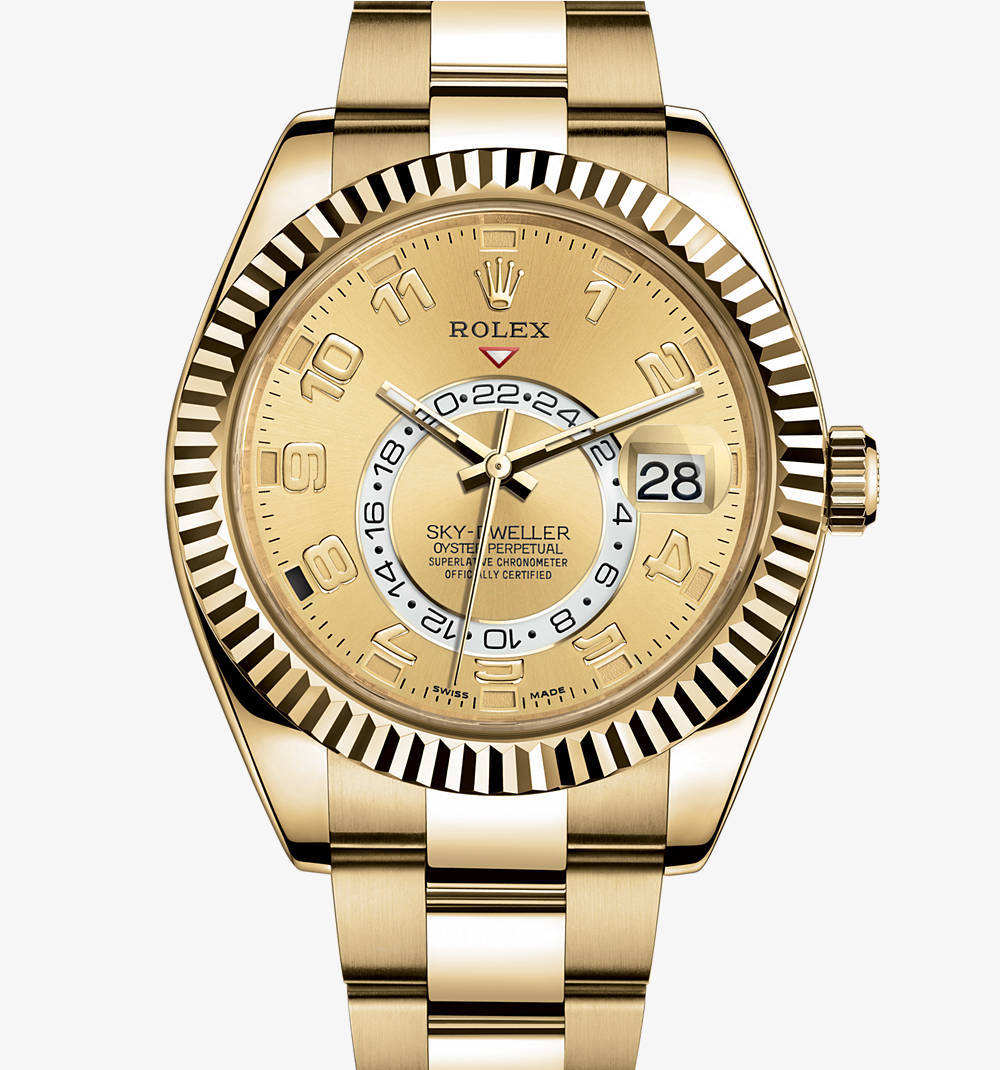 Replica Rolex Sky-Dweller Watch: 18 ct yellow gold – M326938-0002 [ad7b]